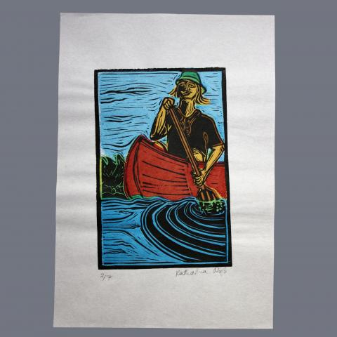 Print of person in canoe
