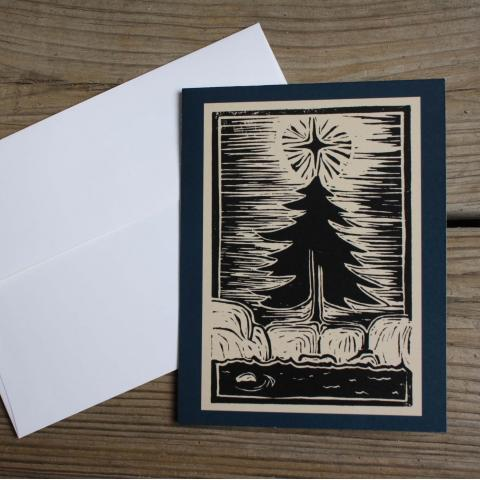 Card showing Christmas tree in the Canadian Shield, with envelope