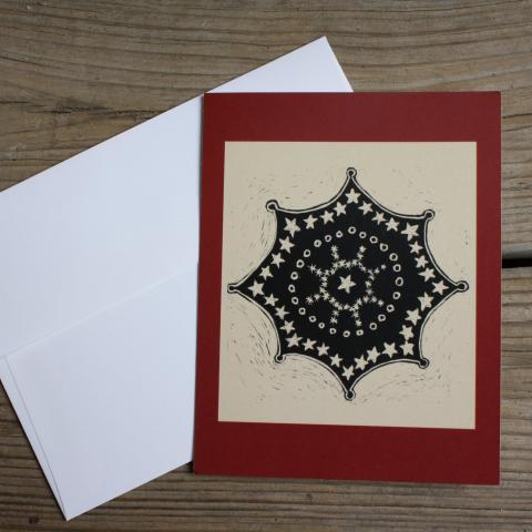 Card showing snowflake, with envelope