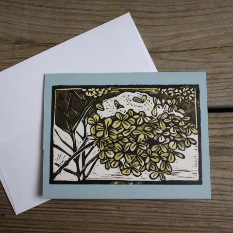 Card showing hydrangea with snow, with envelope