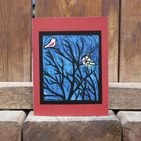 Card showing bird and flower in a bare tree