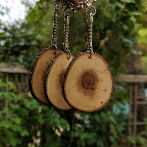 3 keychains with chokecherry branch slices