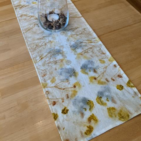 Ecoprinted table runner