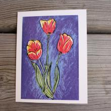 Card showing 3 tulips