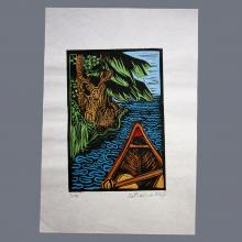 Print of canoe with deer