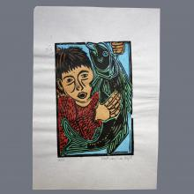 Print of boy with fish