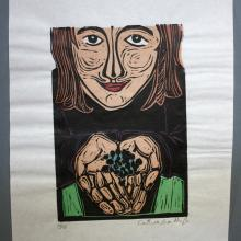 Print of girl with blueberries