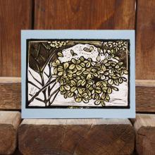 Card showing hydrangea with snow