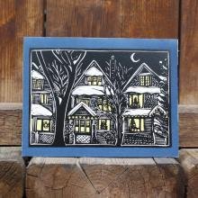 Card showing Christmas scene in Wolseley