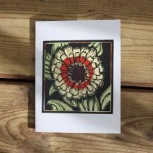 Card showing zinnia flower