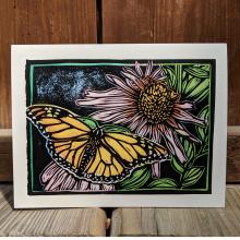 Card showing monarch butterfly