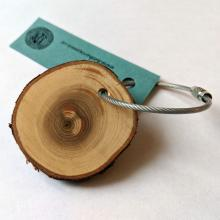 Keychain with cedar branch slice