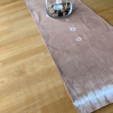 Avocado dyed table runner