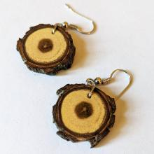 One pair oak earrings