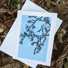 Card showing linden branches in winter, with envelope
