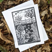 Card showing garden in spring